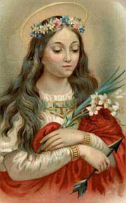 Painting of St. Philomena - a young girl with a crown of flowers on her head, holding lilies and an arrow