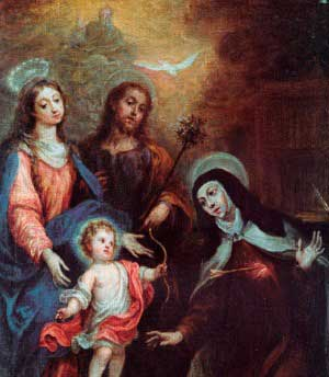 Painting of Saint Teresa adoring Holy Trinity and the Holy Family