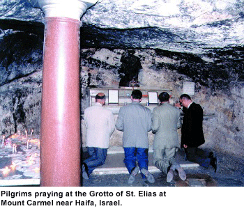 Pilgrims at the grotto of St Elias, Mt Carmel