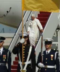 Pope Benedict XVI disembarking a plane