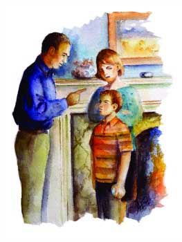 Painting-disciplining a child