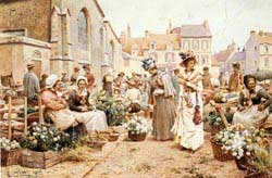 Painting of a flower market