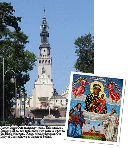 Jasna Gora monastery and mosaic collage