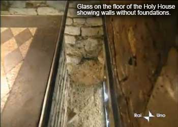 Glass on the floor of the Holy House of Loreto showing walls without foundations