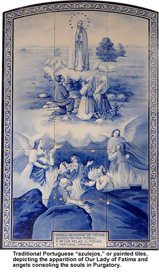"Traditional Portuguese ""azulejos,"" or painted tiles, depicting the apparition of Our Lady of Fatima and angels consoling the souls in Purgatory"