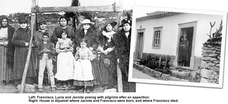 Two Photographs, one of Francisco, Lucia, and Jacinta posing with pilgrims after an apparition, the other the house in aljustrel where Jacinta and Francisco were born and where Francisco died.