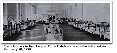 Photograph of a large room with rows of beds and children. Caption reads: The infirmary in the Hospital Dona Estefania where Jacinta died on February 20, 1920