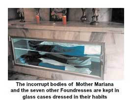 Incorrupt bodies of Mother Mariana and the seven other Foundresses