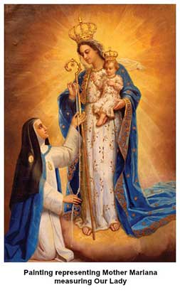 Mother Mariana measuring Our Lady