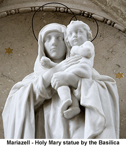 Mariazell - Holy Mary Statue by the Basilica