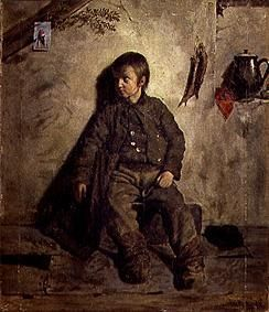 painting of a boy sitting.