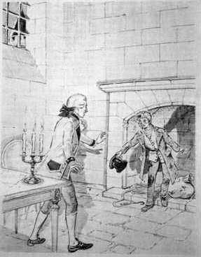 Matiote comes out of the fireplace in the Count's prison cell.