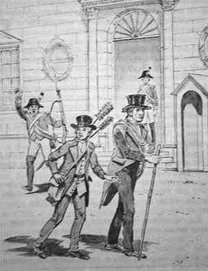 The guards shout for Mathiote and the Count, both dressed as chimney sweeps, to stop
