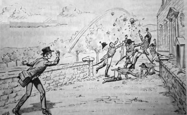 The guards scramble to catch the coins as Mathiote tosses them in the air