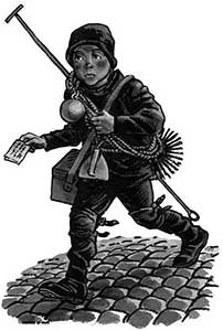 Mathiote, the young chimney sweep, carrying his brushes and other packages