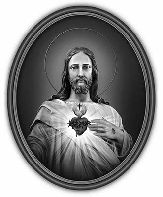 Sacred Heart of Jesus-Oval in Frame-Black and White