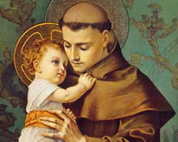 Saint Anthony holding the Infant Jesus. Jesus has His head on Saint Anthony's shoulder and is holding his habit cowl.