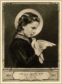 St. Maria Goretti holding a dove vintage Holy Card