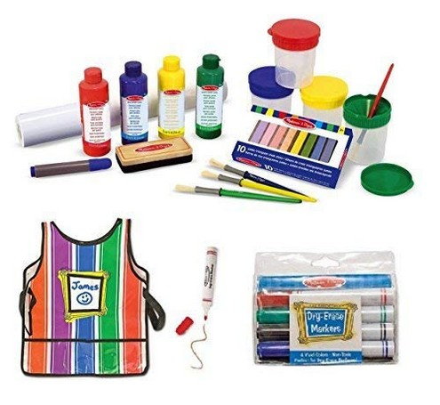 Melissa & Doug Easel Accessory Set, Smock and Dry Erase Markers