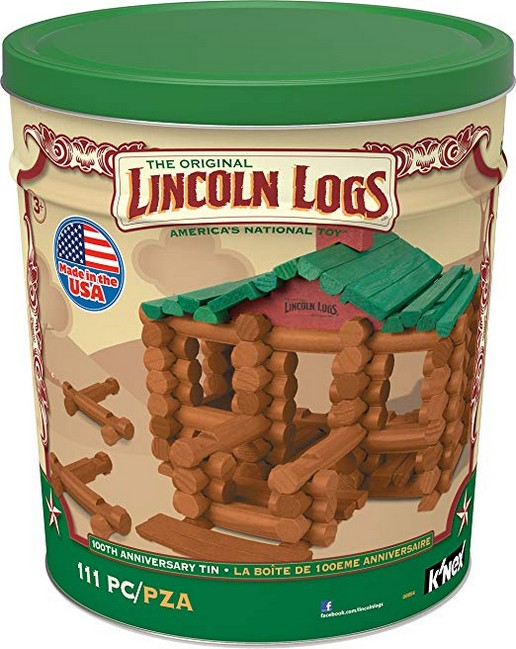 LINCOLN LOGS ? 100th Anniversary Tin - 111 All-Wood Pieces ? Ages 3+ Construction Education Toy
