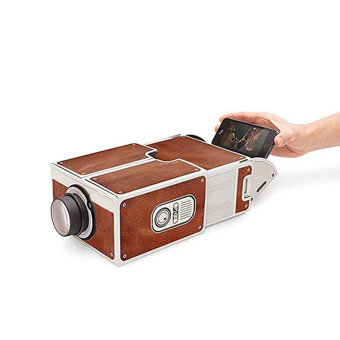 MOSTOP DIY Cardboard Smartphone Projector Home Theater Mobile Phone Projector Portable Cinema - Brown