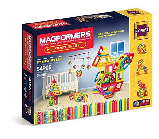 Magformers My First Set (54 Pieces) Magnetic Building Blocks, Educational Magnetic Tiles Kit , Magnetic Construction STEM Set
