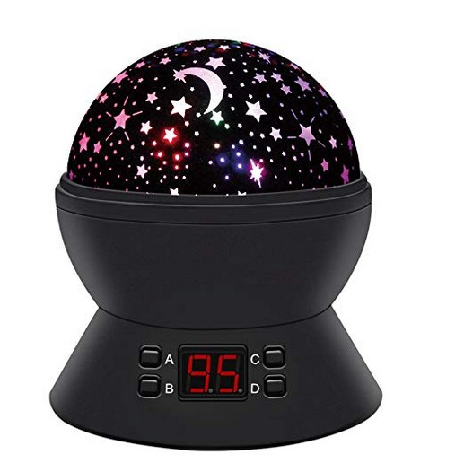 Star Sky Night Lamp,ANTEQI Baby Lights?360 Degree Romantic Room Rotating Cosmos Star Projector With LED Timer Auto-Shut Off,USB Cable For Kid Bedroom,Christmas Gift (Black)