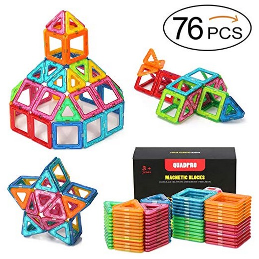 Quadpro 76 Piece Magnetic Blocks Building Toys For Boys Girls, Magnet Tiles Kits For Kids