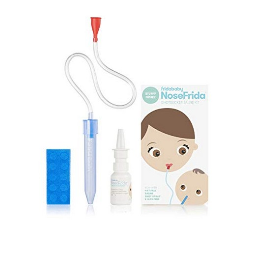 NoseFrida the Snotsucker Baby Nasal Aspirator and Saline Nasal Spray Kit with 10 Hygiene filters by Fridababy ? Sinus Congestion Relief for newborns up to toddlers
