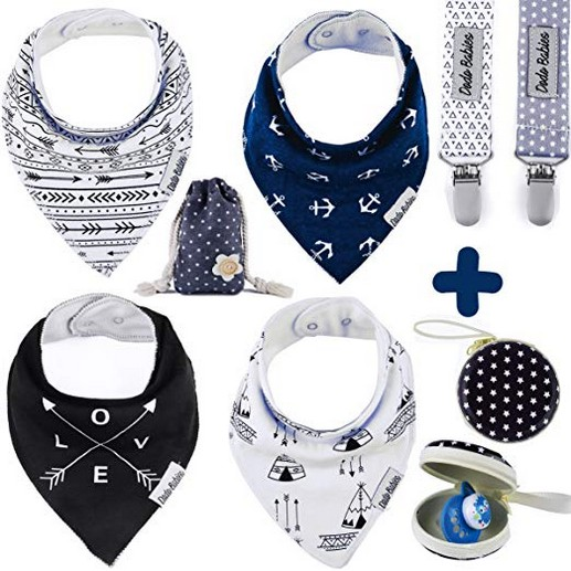 Baby?Bandana Drool?Bibs by Dodo Babies + 2 Pacifier Clips + Pacifier Case in a Gift Bag, Pack of 4 Premium Quality For Boys or Girls , Excellent Baby Shower / Registry Gift