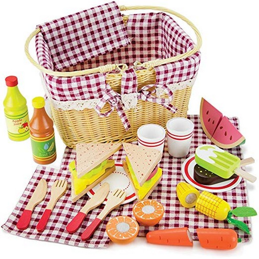 Imagination Generation Slice & Share Picnic Basket - Wood Eats! Play Food Playset with Cutting Fruits, Veggies, Tablecloth and More ? Great for Indoor & Outdoor Pretend Play (34 pcs.)