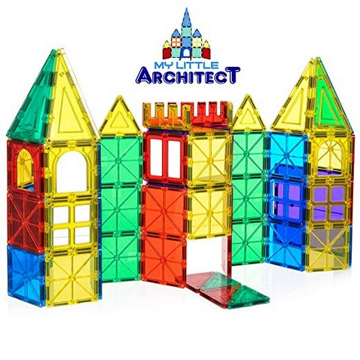 My Little Architect, Magnetic Tiles for Kids, 60-piece 3D Magnet Block Building Set Educational Construction Toy, Best Gift for Boys and Girls 3-years old and up, Bonus Stylish Carrying Bag.