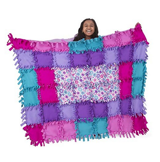 Melissa & Doug Created by Me! Flower Fleece Quilt No-Sew Craft Kit (48 Squares), 4 X 5