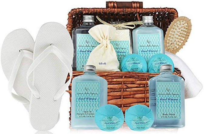 Deluxe Spa Basket, Cool Waters Gift Baskets for Men & Women. Bath & Body Gift Set for Christmas Gift, Birthday Gift, Thank You Gift Basket, Large Gift Baskets! Voted #1 Holiday Gift Baskets!