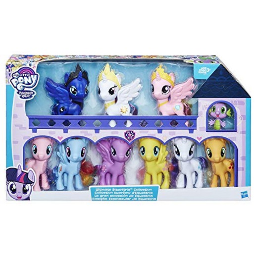 My Little Pony Friendship is Magic Toys Ultimate Equestria Collection ? 10 Figure Set Including Mane 6, Princesses, and Spike the Dragon ? Kids Ages 3 and Up