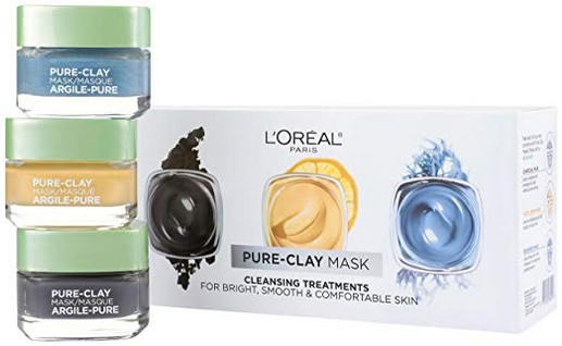 LOreal Paris Skin Care Pure-Clay Face Mask Set Includes Face Mask With Charcoal, Face Mask With Yuzu Lemon and Face Mask With Seaweed, Holiday Gift Set, 1 Kit