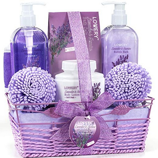 Bath and Body Gift Basket For Women and Men ? Lavender and Jasmine Home Spa Set with Body Lotions, Bubble Bath and More