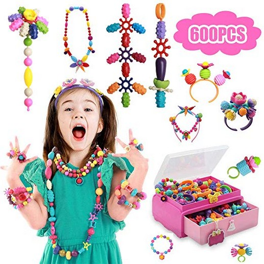 Tigerhu 600 Pcs Pop Snap Beads Set Toy, Jewelry Making Kit for Headband Rings Bracelets Necklaces, Educational DIY Beads for Girls Toddlers Kids
