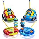 Pack of 2 Cartoon R/C Police Car and Race Car Radio Control Toys