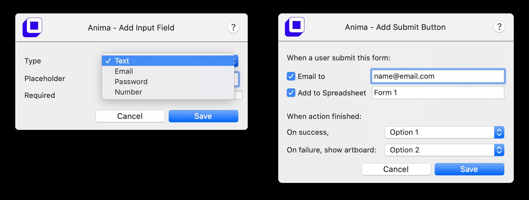 Form & Text Input Modals