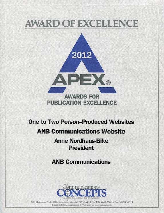 Apex Award to Anne Nordhaus-Bike, website design