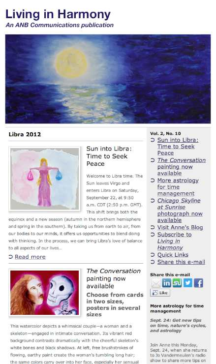 Living in Harmony astrology and art newsletter