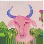 Taurus watercolor circular image