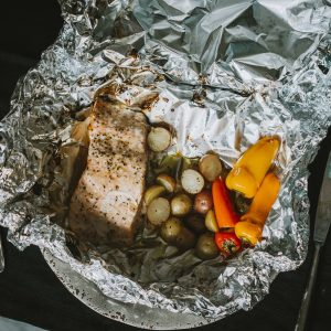 salmon dish cooked in foil