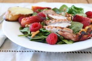 Raspberry Chicken Salad with Grilled Peaches