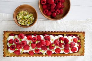 Raspberry Pistachio Honey Tart