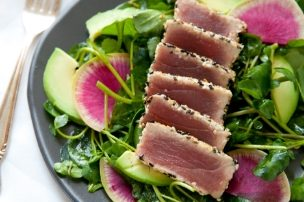 Seared Sesame Tuna Salad with Ginger Soy Vinaigrette