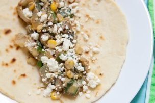 Veggie Tacos with Roasted Poblano, Zucchini and Corn