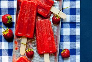 Roasted Strawberry Rhubarb Popsicles