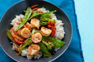 Shrimp and Veggie Stir Fry with Toasted Coconut Rice